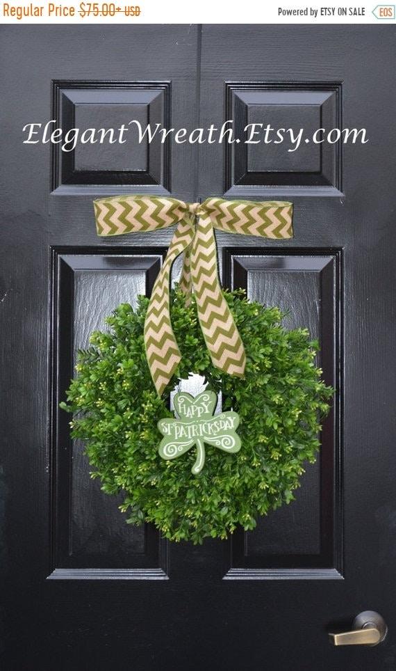 SUMMER WREATH SALE Shamrock Boxwood St Patrick Day Wreath, St Pattys Decor- Green Boxwood Wreath- Irish Decor- Door Wreath- Removable Bow Ye