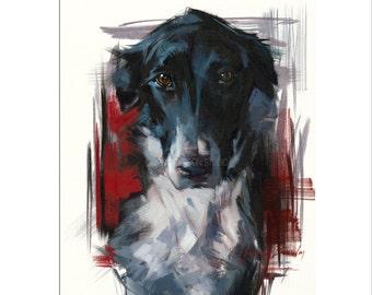 Dog Art - Matted Print of Original Custom Oil Painting - Dog Art, Dogs, Puppy, Animal Wall Art, Fun Art, For Boy, Girl