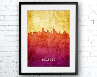 Miami illustration Art Print, Miami painting, United States Florida art, poster, cityscape, city art, urban,city wall art