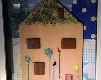 Framed fused glass art 'Home' house warming gift or nursery art or decor