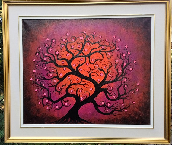 tree art tree painting wall art red curly tree pink dots