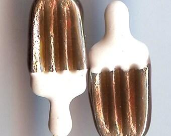 ICE CREAM BAR Charm. Silver Plated Enamel Charm. 3D Chocolate. Eskimo Pie. No Lobster Clasp.