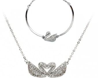 Double Swan Bracelet Necklace Two Piece Set
