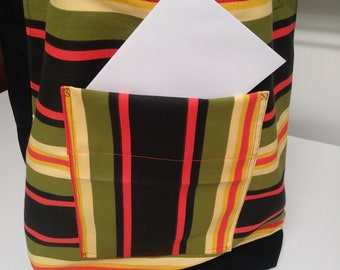 """Bold Stripe and Black Canvas Tote,Outdoor Stripe Fabric,2 pockets,17"""" x 15"""",Carry Books,Shop,Market Bag,Ready to Ship,You Pay Shipping."""