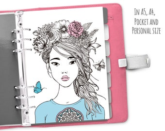 Printable Floral Ladie Dashboard, Girl Fashion Print Planner Cover, A5 A4 Pocket Personal Planner Inserts, Cover, Agenda Insert