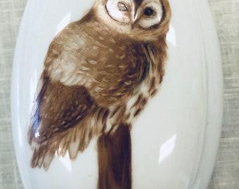 Handpainted owl on a decorative porcelain box
