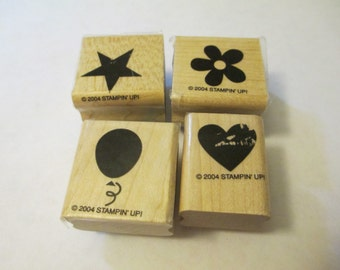 4 Stampin' Up Wooden Stamps Assortment Craft Supplies
