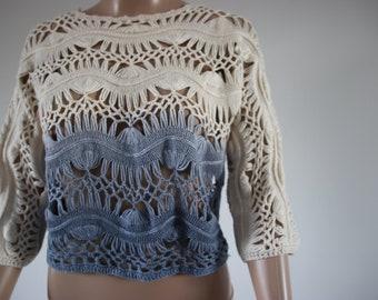 Crochet jumper white and blue
