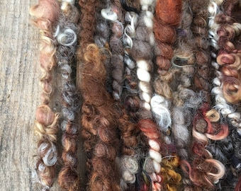 BARNYARD FRIENDS Handspun Art Yarn, Curly Locks, Natural Colored & Hand Dyed Wool, Bulky, Knit, Crochet, Weave, Felt, Doll Hair