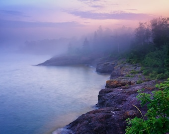 Landscape Photography, Lake Superior, Foggy Evening Mood, North Shore, Fine Art Print, Blue Pink Purple, Fog Mist, Healing Art, Minnesota