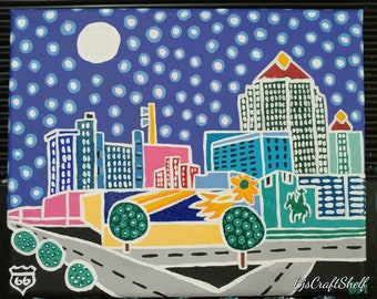 Color My Route 66 Folk Art Painting