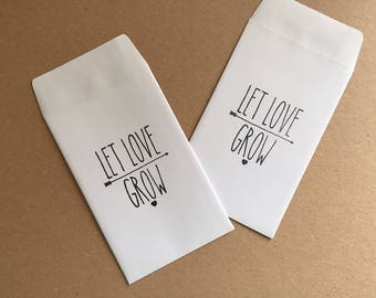 Handmade Let Love Grow White Wedding Favour Seed Packets Qtys 10 - 100