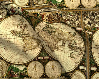 Old fabric etsy old world map fabric old world map by whimzwhirled old world map cartography vintage antique cotton fabric by the yard with spoonflower gumiabroncs Gallery