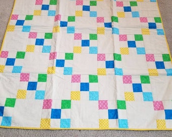 9 patch throw quilt