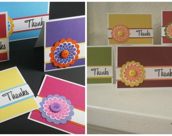 Thank You Flower Button Card Bundle Set of Thank You cards