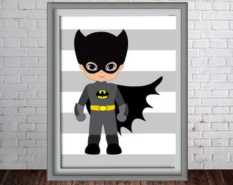 Printable Super Hero Wall Art Print - 16x20, 8x10 and 11x14 Bat Man - Instant Download - Can Customize