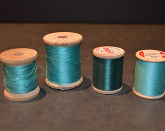 Coats and Clark's Wood Spools with Turquoise/Aqua Green Thread-Set F