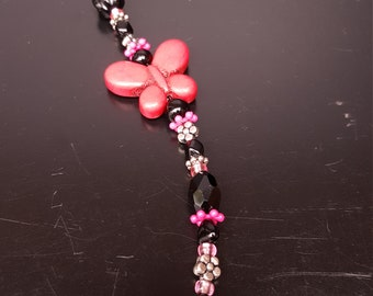 Beaded Scissor Fob, Pink and Black Beads with Butterfly Accent Bead with Point Protector