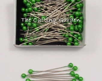 """Corsage / Boutonniere Pins Pearl Apple Green  2"""" pk/144"""