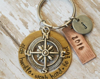 Graduation Keychain-Stay Humble-Work Hard-Be Kind-Compass Rose Charm-Mixed Metals-Hand Stamped-Custom-Adventurer-Wanderer-Graduate Class Of