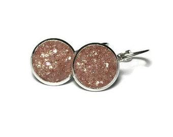rose gold druzy, druzy earrings, lever back earrings, geode earrings, hypoallergenic, crystal earrings, under 10 dollars, druzy jewelry