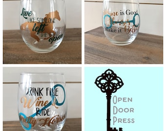 4 Horse Wine Glasses - Your Choice