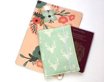 Passport Cover, Travel Organizer, Travel Wallet, Passport Holder, Passport Wallet, Gift for Traveler - Buck Forest Mint
