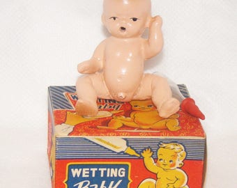 Japanese Wetting Baby Boy Bisque Doll Mint In Box