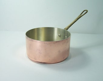 Copper saucepan with brass handle tin plated inside Made in France vintage