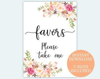 Favors sign Floral favor signage Printable wedding favors poster decor Bridal Shower party favors sign pdf jpg