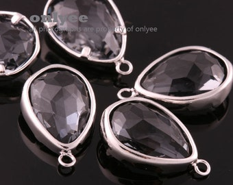 2pcs-17mmX10.5mBright  Rhodium Faceted NEW Style Tear Drop With Glass pendants-Charcord(M395S-B)