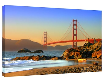Canvas Print Golden Gate Bridge San Francisco Wall Art Picture also in Black and White or Sepia