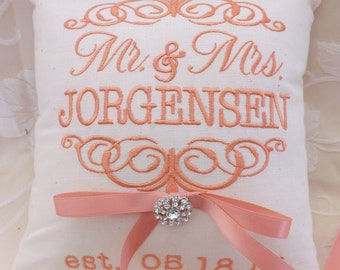 Ring Bearer Pillow, ring bearer pillows, wedding pillow, ring pillow, Mr. and Mrs., monogram, embroidery, custom, personalized (RB101)