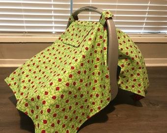 Ladybug seat cover / carseat cover / carseat canopy / Lady bug / Red and Black / lime green / Infant car seat cover