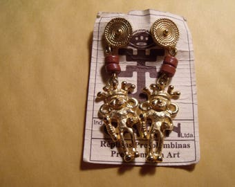 vintage 24k gold plate precolumbian earrings ;new old stock  =