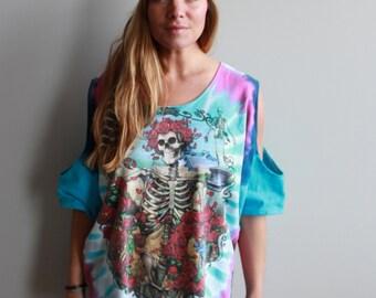 Grateful Dead Tie Dye Bertha Skeleton Roses Open Cut Out Cold Shoulder Oversized Tshirt Top Tee Shirt Womens Clothing Hippie Boho Festival