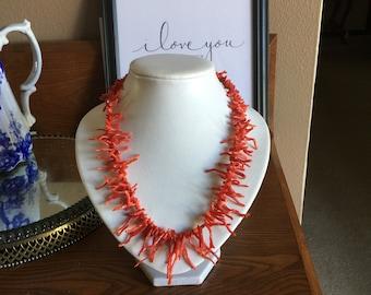vintage natural red branch coral necklace