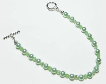 Mint Green Pearl Crystals Wedding Bridal Beaded Bracelet