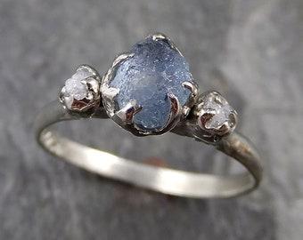 Raw Sapphire Diamond White Gold Engagement Ring blue Multi stone Wedding Ring Custom Gemstone Ring Three stone Ring byAngeline 1173