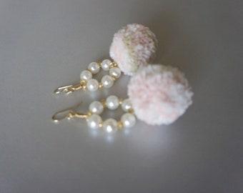 Pom Pom Earrings, Pearl Earrings