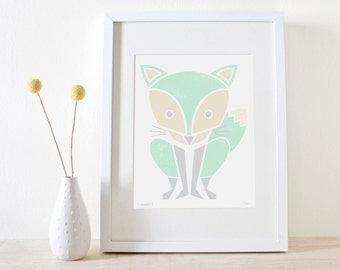 SALE! Fox Print, Mint Nursery, Cute Screenprint