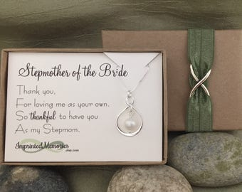 STEPMother of the BRIDE Gift from Bride to Stepmom - Mother of the Bride Necklace Sterling Silver Freshwater Pearl - Stepmother gift wedding