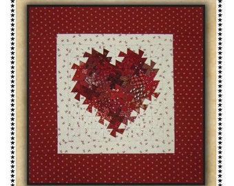 My Twisted Heart Quilt Pattern - Wall Hanging Pattern - Primitive Gatherings Twister Pattern - Valentine's Day Decor
