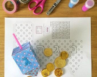 Hanukkah Dreidel Paper Craft for kids, printable Dreidel template to creat 3D Paper Dreidel toys, Instant download file, Dot, english.