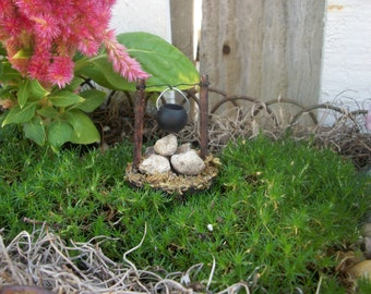 Miniature Fairy Garden Cooking Pot over Fire Pit Accessory Supply