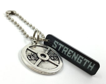 STRENGTH Keychain | Gym Bag Accessory | Powerlifting Weight Plate Charm | Personal Trainer Gift | Gym Motivation | Workout Motivation Gift