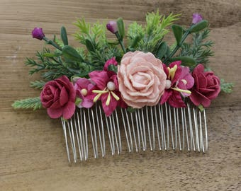 Pink & Burgundy  Mulberry Paper flower Hair comb, Bridal hair comb, Bridal flower headpiece, Wedding hair comb
