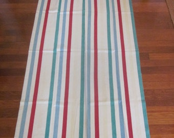 Pair of Vintage Cotton Twill Striped Drapery Panels