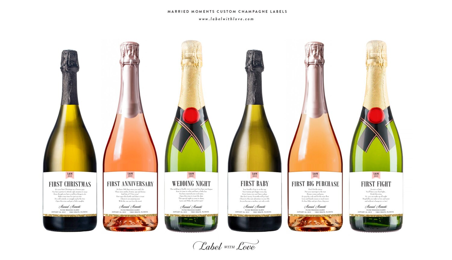 First Married Moments Champagne Labels or Wine Labels / Bridal ...