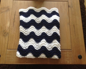 New hand knitted car seat stroller navy and white baby blanket